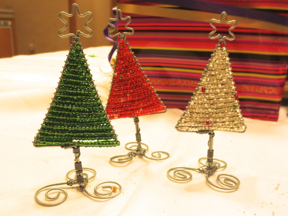 South African beaded Christmas trees - a taste of home!