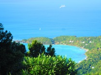 Tortola's green vegetation and turquoise seas