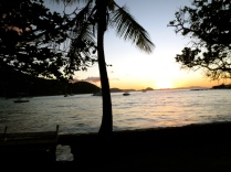 Sunset shot driving along the Tortola coast line