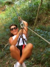Hayley in action on the zip-line