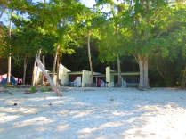 The basic rustic beach bungalows in Cinnamon Bay where we spent the night