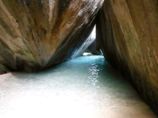 The Virgin Gorda caves where the sun illuminates the aqua ocean