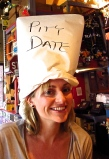 Katie wearing her 'Pity Date' hat at Dick's in Baltimore