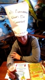 Rich wearing 'My girlfriend thinks I'm straight' hat at Dick's Last Resort