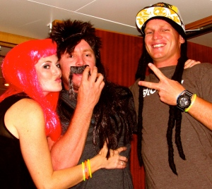 Rich, Jamie and I in our wigs on Friday night's Halloween party.