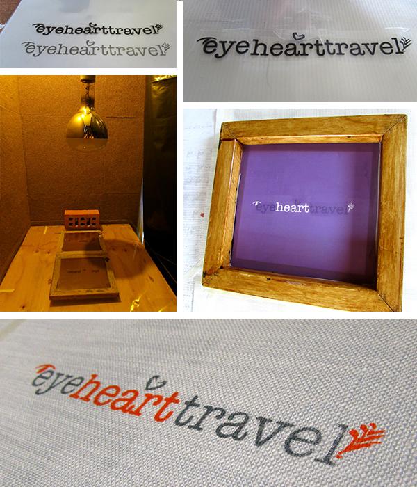 Making Eyehearttravel logo silk screens and the prints