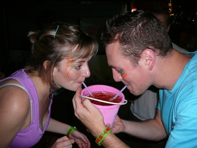 My brother, Mike, and I sipping on a Thai bucket