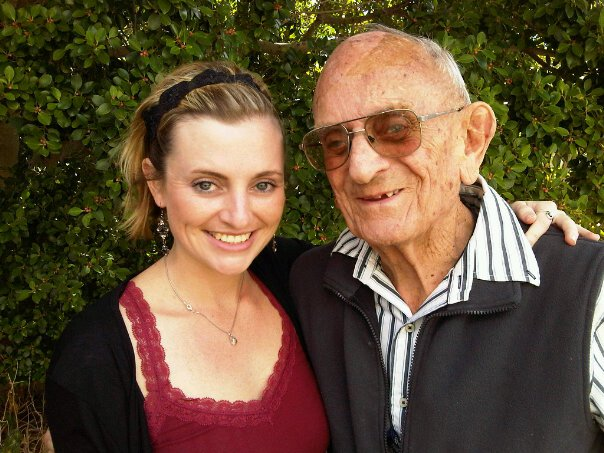 Grandpa Frank and I at his old cottage in Somerset West