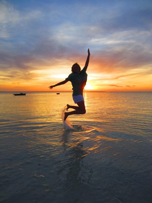 Sunset jump in Zanzibar