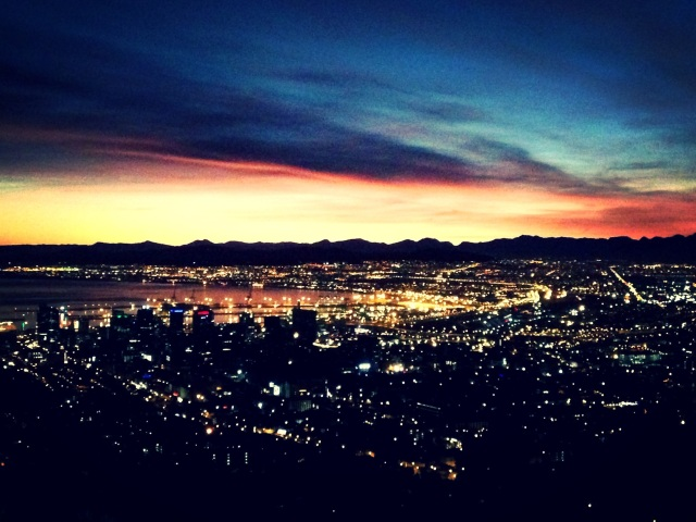 Cape Town city lights with a hint of the rising sun
