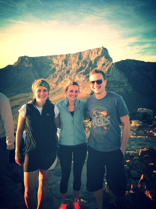 Alex, Mike and I at the top of Lion's Head with Table Mountain in the background
