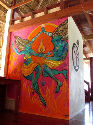 A mural in the yoga studio at Maderas Village