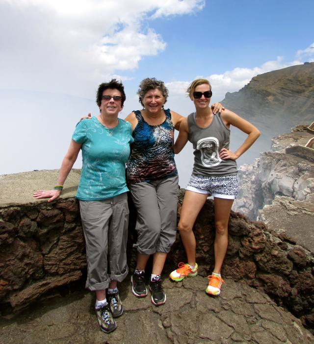 Overlooking the Mouth of Hell at Volcano Maya with Brooke and Heidi