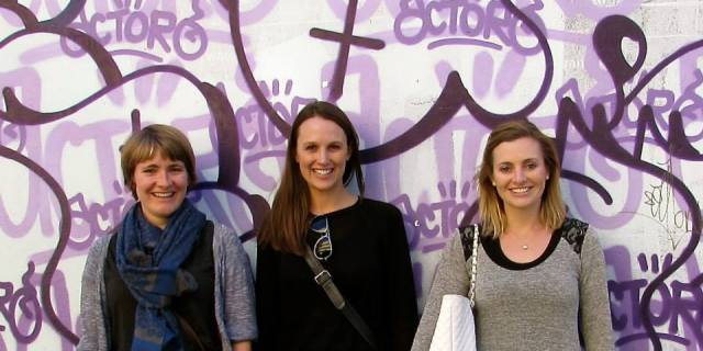 Alex, Lou and I with a grafitti backdrop