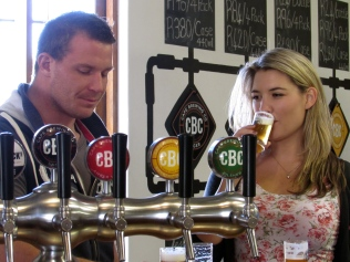 Beer taps and tasters at the Cape Brewing Company