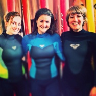Al, Leigh and I ready to surf