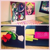 Bright desk decor at work [Kiss Me Dammit mint tin was a Bday gift]
