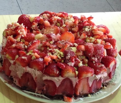 A raw strawberry cold cake