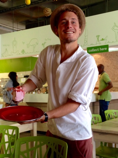 James served us so much more than just a slice of guilt-free strawberry cold cake