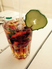 A delicious Pimm's cocktail to cool off after an afternoon on the beach