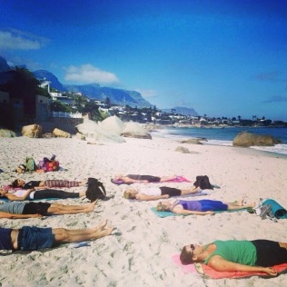Shavasana with the sounds of crashing waves