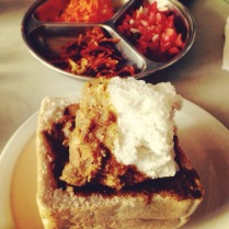 My first Bunny Chow in Florida Road, Durban