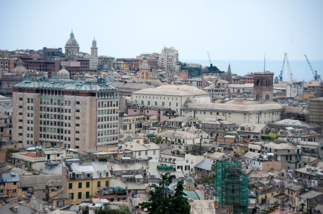 Cityscape of the Port of Genoa (view from above). Genoa, Liguria, Italy, South Europe.