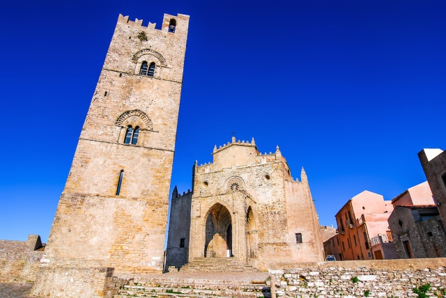 Sicily, Italy, tower of Erice Cathedral